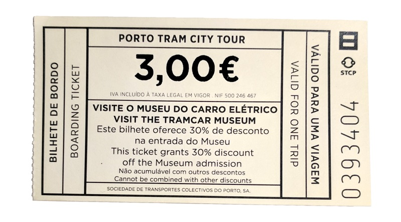 ticket for Porto's historic tram